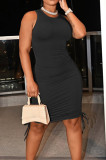 Black Casual Round Neck Sleeveless Drawsting Pure Color Stretch Slim Fit Dress YYF8230-1