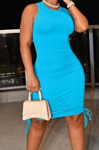 Sky Blue Casual Round Neck Sleeveless Drawsting Pure Color Stretch Slim Fit Dress YYF8230-16