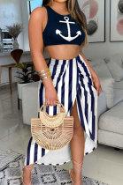 Blue Stripe Women Printing Vest Skirts Sets SRX6321-2