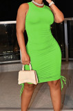 Neon Green Casual Round Neck Sleeveless Drawsting Pure Color Stretch Slim Fit Dress YYF8230-11