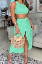 Women Printing Vest Skirts Sets SRX6321-4