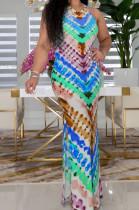 Blue Fashion Tie Dye Positioning Print Tank Dress ZDD31151-3