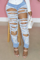 Light Fashion Casual Hole Water Washiong Jeans JLX3002
