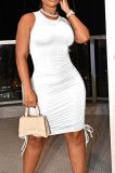 White Casual Round Neck Sleeveless Drawsting Pure Color Stretch Slim Fit Dress YYF8230-2