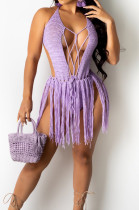 Purple Sexy Weaving Two Wear Short Tassel Beach Skirts QZ4345-3