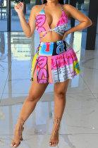 Euramerican Women Trendy Printing Spaghetti Strap Open Back Sexy Skirts Sets GB8023