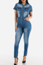 Dark Blue Fashion Slim Fit Collect Waist Jeans Jumpsuits JLX6056-1