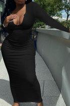 Black Women Deep V Neck Tight Sexy Long Sleeve Long Dress Q910-8