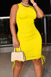 Yellow Casual Round Neck Sleeveless Drawsting Pure Color Stretch Slim Fit Dress YYF8230-3