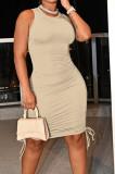 Khaki Casual Round Neck Sleeveless Drawsting Pure Color Stretch Slim Fit Dress YYF8230-4