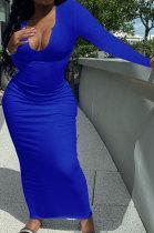 Blue Women Deep V Neck Tight Sexy Long Sleeve Long Dress Q910-9