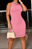 Pink Casual Round Neck Sleeveless Drawsting Pure Color Stretch Slim Fit Dress YYF8230-6