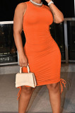 Orange Casual Round Neck Sleeveless Drawsting Pure Color Stretch Slim Fit Dress YYF8230-5