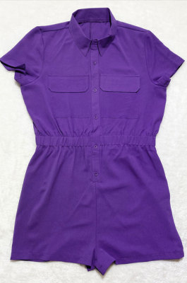 Purple Euramerican Women Casual Loose Double Pocket Pure Color Short Sleeve Overalls Romper Shorts SDD9365-8