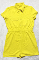 Yellow Euramerican Women Casual Loose Double Pocket Pure Color Short Sleeve Overalls Romper Shorts SDD9365-7
