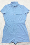 Light Blue Euramerican Women Casual Loose Double Pocket Pure Color Short Sleeve Overalls Romper Shorts SDD9365-5