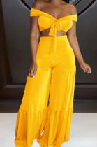 Yellow Euramerican Korea Velvet Pure Color Wide Legged Pants Sets BBN177-2