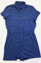 Dark Blue Euramerican Women Casual Loose Double Pocket Pure Color Short Sleeve Overalls Romper Shorts SDD9365-1