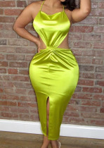 Green Euramerican Sexy Satin Bind Halter Neck Dew Waist High Open Fork Dress BN9285-2