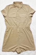 Khaki Euramerican Women Casual Loose Double Pocket Pure Color Short Sleeve Overalls Romper Shorts SDD9365-2