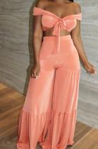 Pink Euramerican Korea Velvet Pure Color Wide Legged Pants Sets BBN177-3