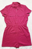 Rose Red Euramerican Women Casual Loose Double Pocket Pure Color Short Sleeve Overalls Romper Shorts SDD9365-3