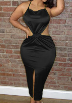 Black Euramerican Sexy Satin Bind Halter Neck Dew Waist High Open Fork Dress BN9285-3