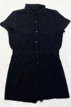 Black Euramerican Women Casual Loose Double Pocket Pure Color Short Sleeve Overalls Romper Shorts SDD9365-4