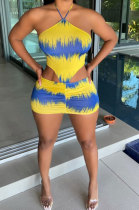 Yellow Red Euramerican Women Fashion Printing Bandage Mini Dress FFE162-2