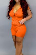 Orange Casual Hoodie Zipper Short Sleeve Shorts Sports Sets BS1276-9