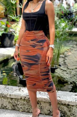 Brown Fashion Casual Ruffle High Stretch Net Yarn Print Skirts N9288-1