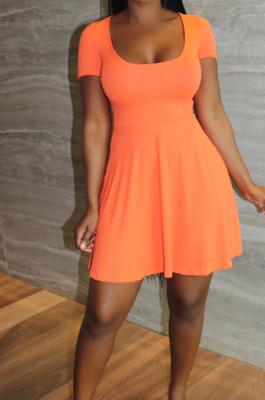 Orange Sexy Casual U Neck Shorts A-Line Dress LYY9311-2