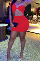 Red Women Sexy Tight Pure Color One Shoulder Backless Mini Dress FFE161-1