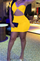 Yellow Women Sexy Tight Pure Color One Shoulder Backless Mini Dress FFE161-2