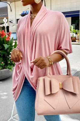 Pink Fashion Personality Prue Color Loose T-Shirts JC7058-1