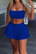 Blue Summer Fashion Sling Tank Pleated Skirt Tennis Sets W8392-2