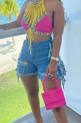 Light Summer Casual Water Washing Hole Tassel Jeans Shorts W8393