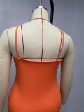 Orange Gallus Monolateral Shirred Detail Fashion Cultivate One's Morality Pure Color Plus Mini Dress Q6049