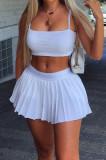 White Summer Fashion Sling Tank Pleated Skirt Tennis Sets W8392-1