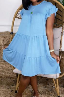 Sky Blue Fashion Loose Round Neck Casual Dress JC7054-3