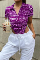 Purple Women Printing Gradient Short Sleeve Blouse PY814-2