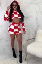 Women Trendy Casual Plaid Printing Long Sleeve Hoodies Package Hip Skirt Two-Pieces NYS2135