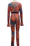 Orange Euramerican Sexy Net Yarn Print Spliced Two Piece SMR10141-3
