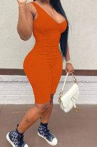 Orange Pure Color Sleeveless Pit Bar Romper Shorts AJL8011-3