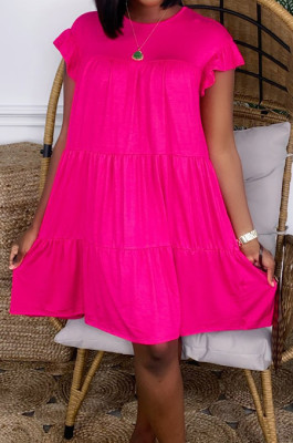 Rose Red Fashion Loose Round Neck Casual Dress JC7054-1