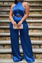Dark Blue Women Pure Color Sleeveless Top Casual Pants Sets NK254-1