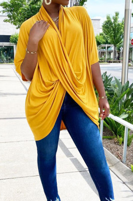 Yellow Fashion Personality Prue Color Loose T-Shirts JC7058-5
