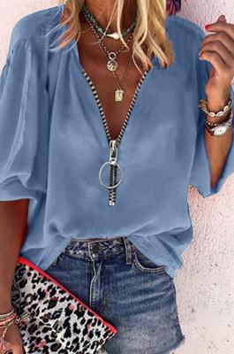 Grey Blue Euramerican Pure Color Zipper Loose Long Sleeve Top ORY5199