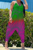 Gradient Green Purple Women Sexy Gradient Printing Casual Jumpsuits PY826-2