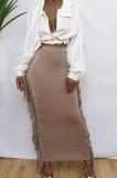 Champagne Cute Two Side Tassel Long Skirts MTY6538-2